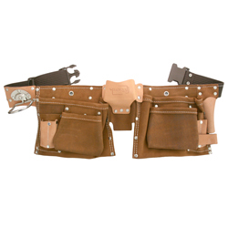 8 pocket Leather Suede tool bag belt with 2 hammer loops