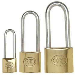 Tri circle long shackle padlock